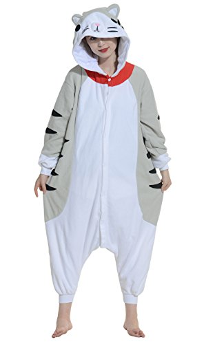 DATO Pyjama Tier Onesies Tabby Katze Erwachsene Kigurumi Unisex Cospaly Nachtwäsche für Hohe 140-187CM