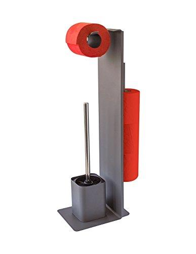 GELCO Wilson Serviteur WC, Métal, Carbone Mat, 9,5 x 16 x 61 cm