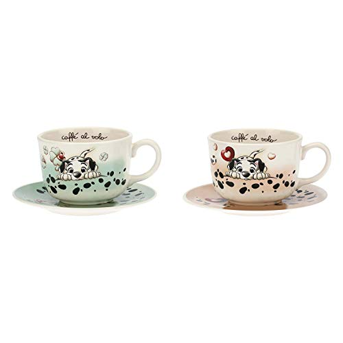 THUN ® - Set 2 Tazze Grandi Dalmata - Linea Disney® Carica 101 - Ceramica - 490 ml - ø...