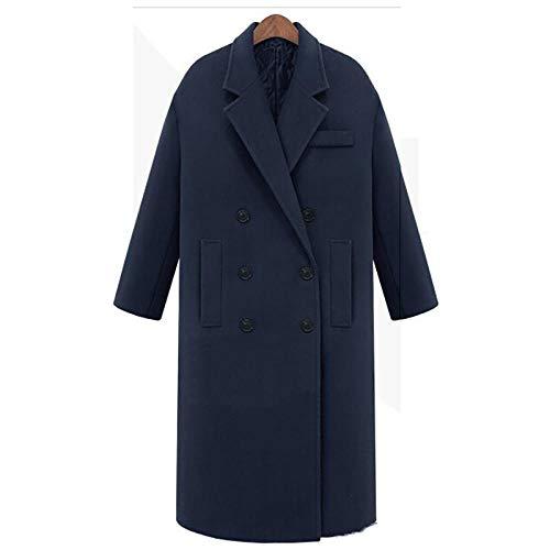 Lssing Damenmantel Winterlange Freizeitjacke Zweireiher Wollmantel, Dicker Wolltrenchcoat, M, Tiefes Blau