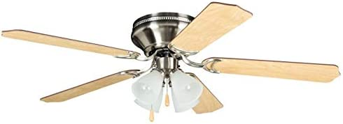 """Craftmade BRC52BNK5C Brilliante Hugger Fan Flush Mount 52"""" Ceiling Fan with LED Light Kit and Pull Chain, 5 Blades, Brushed Polished Nickel"""