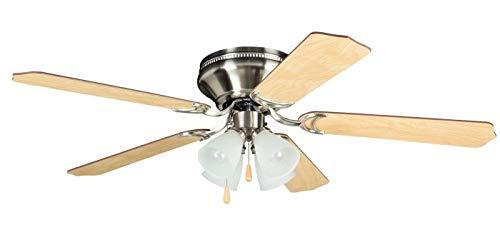 "Craftmade BRC52BNK5C Brilliante Hugger Fan Flush Mount 52"" Ceiling Fan with Light Kit, 5 Blades, Brushed Polished Nickel"
