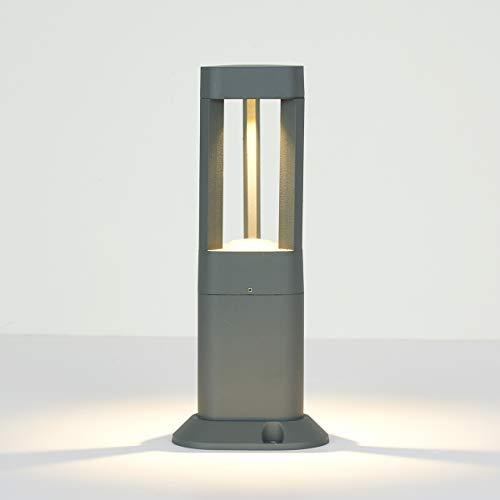 Topmo-plus Außen standleuchte außenleuchte Stehleuchte LED Gartenlampe modern Stehleuchte Wegeleuchte / 7W LED bridgelux COB/Garten/Promenade/Pfad IP65 grau 3000K