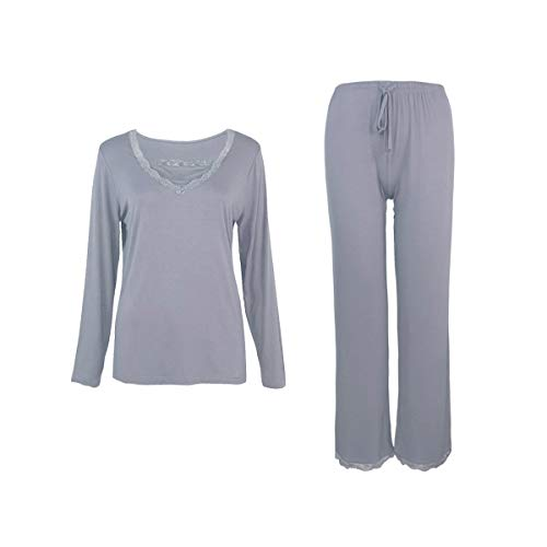 Sleepy Time Pajamas de bambú para Mujer, Alivio de menopausia de Flash Caliente, Cuello en V - Morado - XL