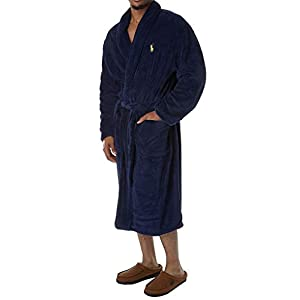 Polo Ralph Lauren Men's Microfiber Plush Long Sleeve Shawl Collar Robe