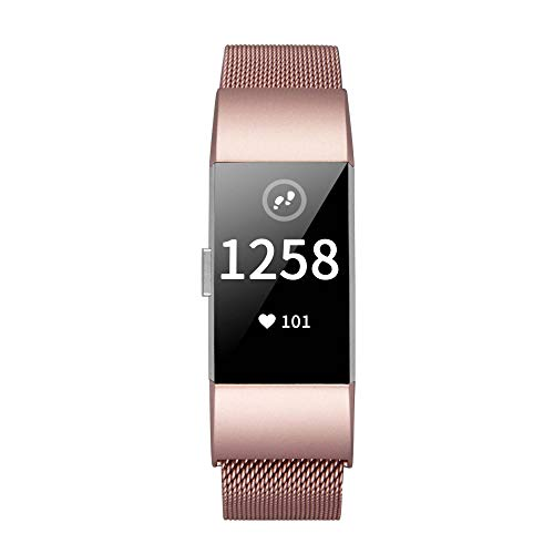 TOMALL Metal Bands Compatible for Fitbit Charge 2,Stainless Steel Metal Replacement Wristband for Women Men (Small, Rose Pink)