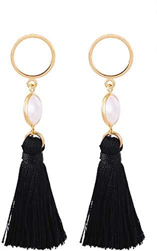 Pendientes Pendientes de borla negra super hada exquisita moda popular temperamento clásico estilo largo individual salvaje e