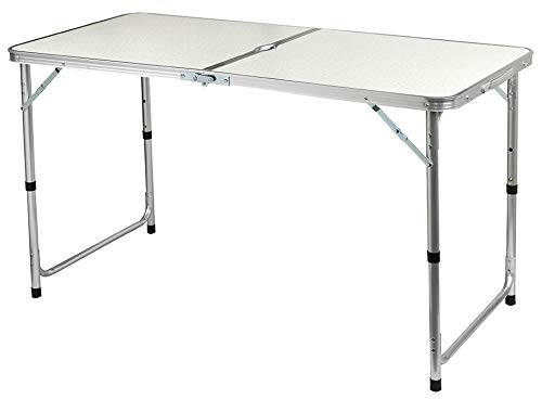 "CAPTURE ""Camp6 AL-120E - Mesa de camping para 6 personas, 60 x 120 cm, aluminio, plegable, ajustable, soporte para sombrilla, picnic"