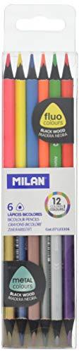 Caja de 6 lápices fluo&metal bicolor NUEVO