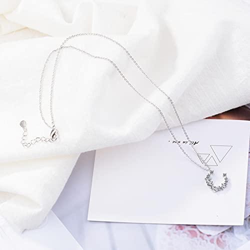 LCUK Flash Irregular Crescent 925 Joyería de Plata esterlina Temperamento Personalidad Cristal de Luna Regalo Femenino Collares Pendientes