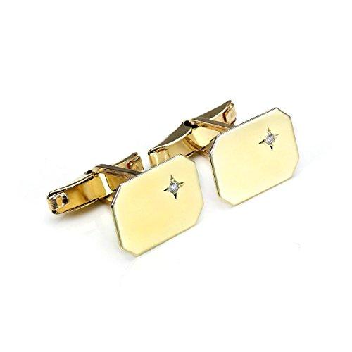 Boutons de Manchette Rectangulaires en Or Jaune 9 Carats et Diamants - Tête Pivotante