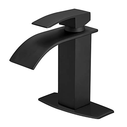 BESy Black Waterfall Spout Bathroom Faucet, Single Handle Bathroom Sink Faucet, Rv Lavatory Vessel Faucet with Deck Plate, Brass, Matte Black, 1 or 3 Hole