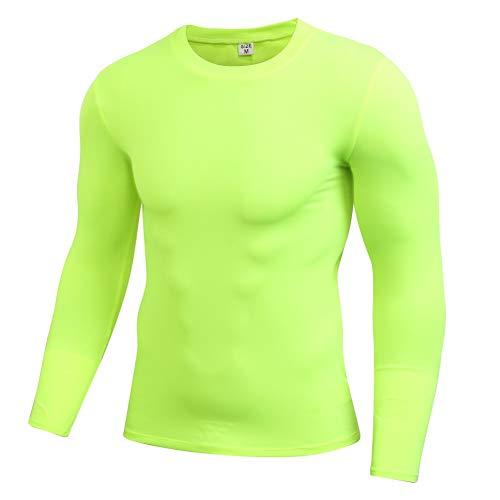 EFINNY Herren Compressionsshirt Langarm Funktionsshirt Laufenshirt Gym Fitnesstraining Unterhemd Sportbekleidung Shirt (Grün,XXL