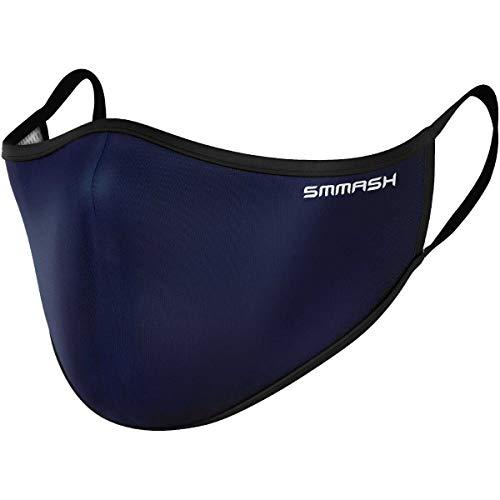 SMMASH Mundschutz Maske Wiederverwendbar, Hochwertiges Gesichtsmaske Waschbar, Multifunktional Trainingsmaske für Radfahren, Laufen, Staubschutzmaske für Damen, Herren (S/M, NAVYBLUE)