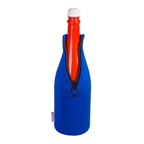 Sektkühler 0,75l Neopren, Flaschenkühler, Weinkühler, Getränkekühler, DRESS-YOUR-DRINK (Blau, 1 Stück)