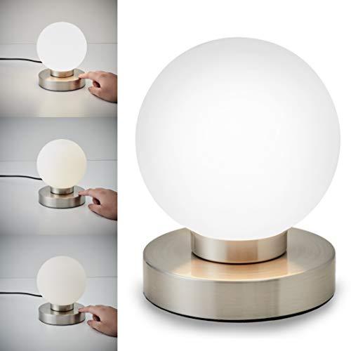 Lampada da comodino, forma a sfera, interruttore touch, luce da tavolo, abat-jour dimmerabile, metallo cromato e vetro bianco, 25W, attacco per lampadina E14 alogena (non incusa)