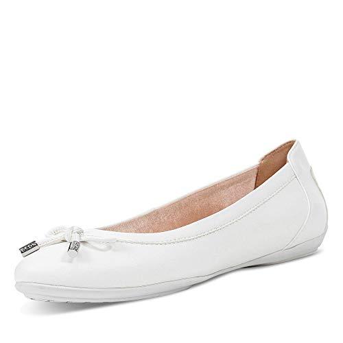 Geox Donna Ballerine D Charlene, Signora Ballerine Classiche, Ballerina,Scarpe estive,Elegante,Nodo,Tempo Libero,Optic White,37 EU / 4 UK