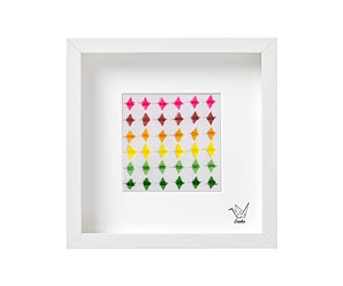 Cuadro de grullas decorativo de Origami, 25x25 cm, colores, original (small paper cranes, Senbazuru, Eneko Tapia)