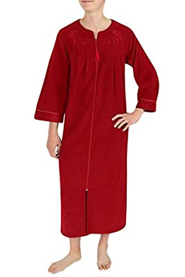 Miss Elaine Women's Long Terry Knit Robe with Two Side Pockets, a V-Neckline, and Smocked Shoulders