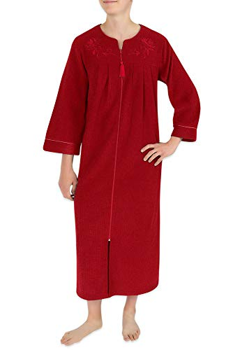Miss Elaine Women's Plus Size Long Brushed Back Terry Robe with Two Side Pockets, Long Sleeves, and a Detailed Embroidery Trim Red