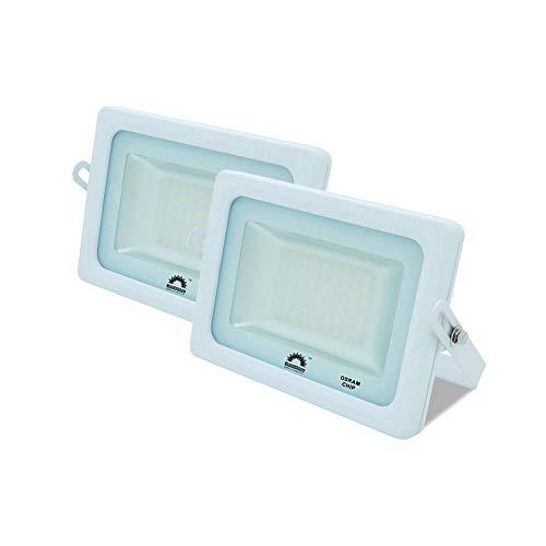 Pack de 2 Focos LED Exterior T-SPACE Blanco · Proyector LED Extraplano 15W con Chip Interior OSRAM · Focos LED con 1650 Lúmenes · Medidas: 115mm x 95mm [Clase energética: A++]