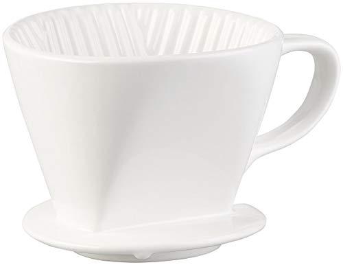 Rosenstein & Söhne Kaffeefilter Keramik: Porzellan-Kaffeefilter für Filtertüten der Größe 2, bis 4 Tassen, weiß (Keramik Kaffeefilter Größe 4)