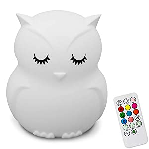 Kids Wireless Bluetooth Speaker, 9 Colors Changing Bunny Bear Owl Animal Musical Nightlight, Cute Rechargeable Safety ABS Silicone Music Lamp, Great Birthday Gift for Baby Boys Girls Toddler