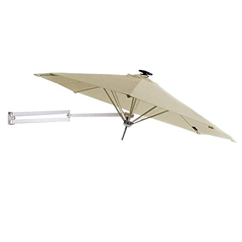 Parasols 250cm Wall-Mounted with Solar LED Lights and Metal Pole, Outdoor Garden Patio Sunshade Umbrella with Tilt Adjustment, Khaki