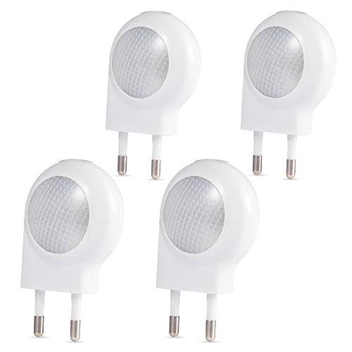 LEDGLE 0,7W Plug-in Luz Nocturna Mini LED Pared Luz con el Sensor del Anochecer al Amanecer (Pack de 4)