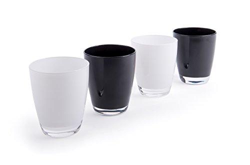 Excelsa Happy Colour Set Bicchieri, Bianco e Nero, 4 unità