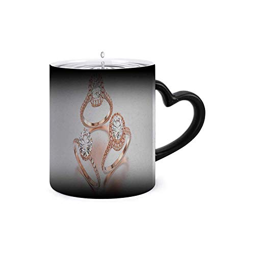 3D 3Different rose gold diamonds rings with reflection on a grey -,Magic Mug Color Changing Add Hot Liquid for Milk, Tea, Mocha and Mulled Drinks Assorted Colors 11oz