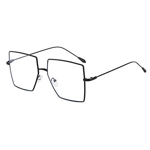 Gafas de sol, 2 gafas de sol modernas, polígono retro, montura de gran tamaño, cara redonda se ve delgada, protección UV, estuche de regalo (tamaño: marco negro de luz plana)