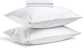 FAUNNA, Lux Zippered Pillow Protector Cover Case (Queen, 20x30) (4-Pack) - Sateen 100% Cotton
