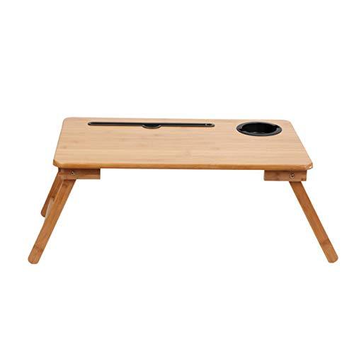 Escritorio De Computadora Plegable De Bambú con Ranura para Tarjeta De Cuaderno, Mesa Kang, Estante De Cama, Dormitorio, Escritorio De Computadora PortáTil para Comer
