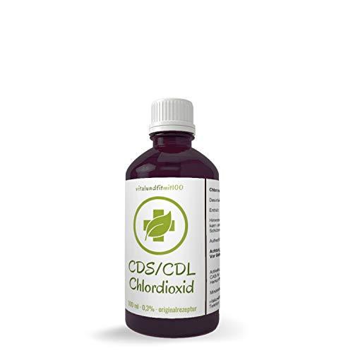 Chlordioxid Lösung 0,3% - 3000ppm - Premium CDS/CDL - in miron Violett-Glasflasche - 100 ml CDS CDL - Chlordioxidlösung nach Originalrezeptur - MADE IN GERMANY