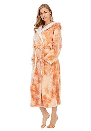 ZLJIA Albornoces de otoño invierno femenina Tie-dye Print Coral Velvet Hood Robes mujer engrosada ropa del hogar bata, amarillo-XXL