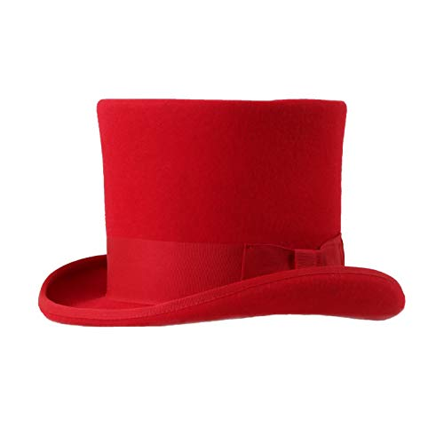Ferrecci Wool Felt Top Hat /18 Colors/with Grosgrain Ribbon and Removable Feather- Unisex, Men, Women Red