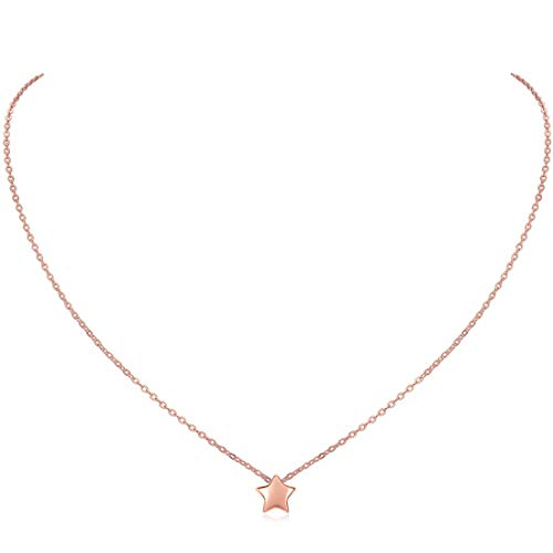 Rose Gold Star Necklace for Women Girls 925 Sterling Silver Trendy Everyday Jewelry Bridesmaid Gifts