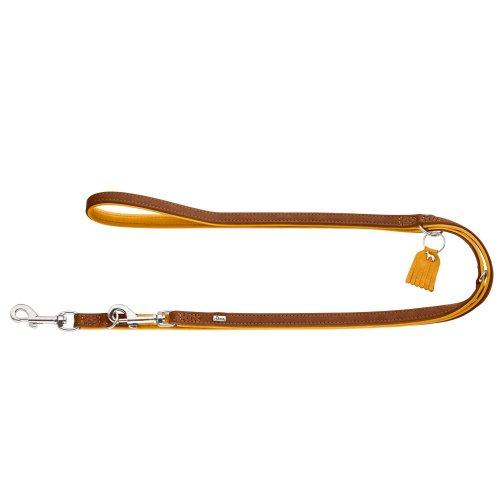 HUNTER LUCCA Verstellbare Hundeführleine, Leder, weich, robust, modern, 1,5 x 200 cm, braun/senf