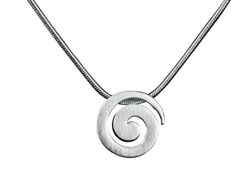 SILBERMOOS Anhänger mit Kette Spirale offen Kreis rund matt mit Schlangenkette 45 cm 925 Sterling Silber