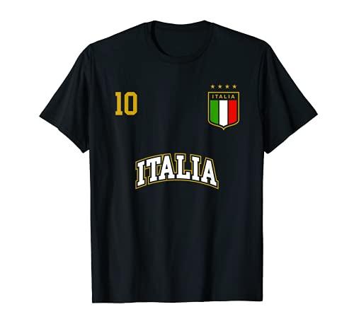 Squadra Calcio Italia Numero 10 Bandiera Italiano Maglietta