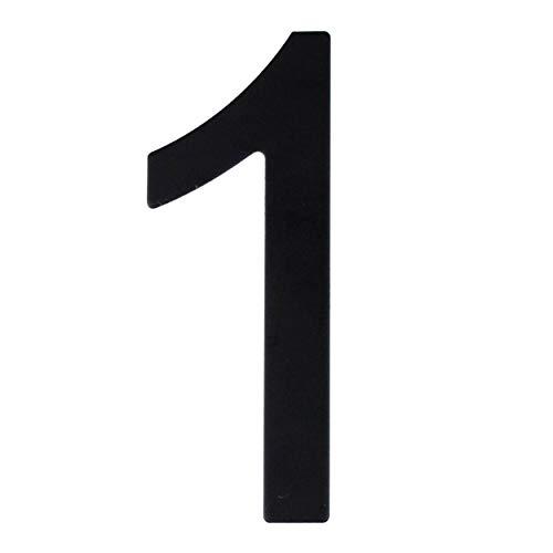 Número de calle en acero inoxidable negro mate, con dorso adhesivo, con una altura de 76 mm, número de casa, diseño de puerta (1)