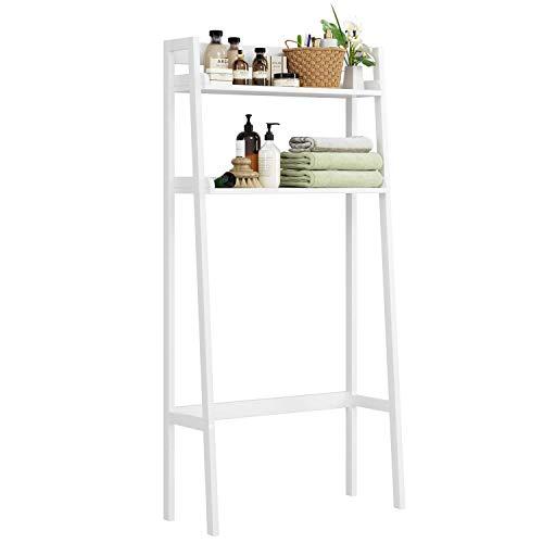 HOMECHO Bathroom Over Toilet Storage Shelf 2-Tier Toilet Tower Holder Space Save Freestanding Rack, White Finish