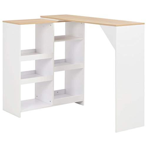 vidaXL Bartisch mit Beweglichem Regal Bartresen Stehtisch Tisch Bistrotisch Tresentisch Küchentheke Frühstückstisch Küchentisch Weiß 138x40x120cm