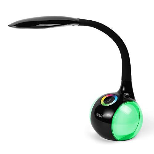 WILIT T3 Lámpara Escritorio Táctil, 256 RGB Luz de Color, Flexo LED Escritorio, Lámpara de Mesa Infantil Regulable, Lámpara de Mesita de Noche, 3 Niveles de Brillo, 5W, Negro