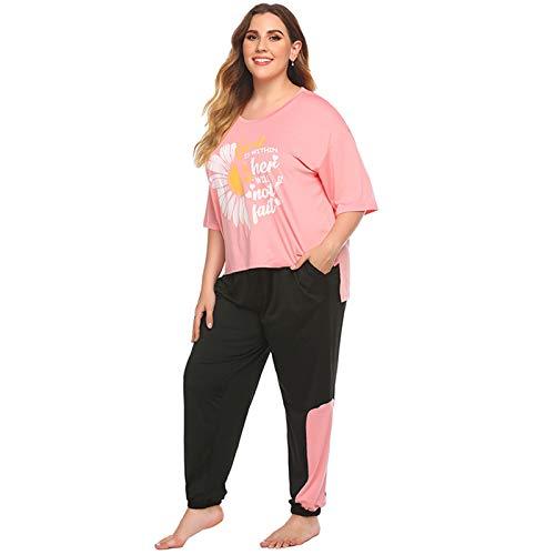 TR-yisheng Pijamas de Mujer, Damas Sueltas de Gran tamaño Estampado de Flores de Margaritas pequeñas Costuras en Contraste Traje Informal Pantalones de Manga Corta Traje de Dos Piezas