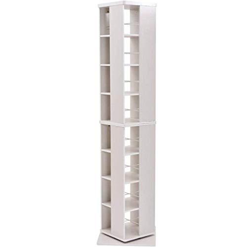 [山善] 回転本棚 8段 幅45×奥行45×高さ182.5cm 壁付け・角置き可 コンパクト 大容量 組立品 ホワイト DSRR-8(JW)
