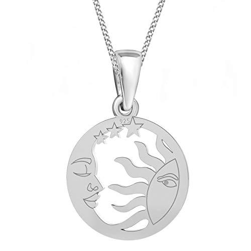 Sonne Mond & Sterne Anhänger mit Kette 925 Echt Silber Mädchen Damen Halskette (1) Silber, 50)