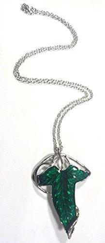 Señor de los Elfos de anillos de la hoja verde broche colgante collar