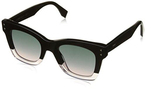 FENDI Damen FF 0237/S JP 3H2 49 Sonnenbrille, Schwarz (Black Pink/Green Pink)